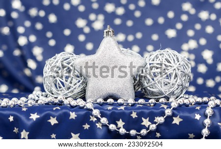Christmas background with silver Christmas balls and star - stock photo