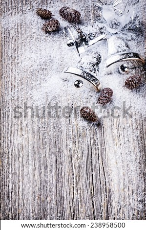 Christmas background with silver jingle bells  - stock photo