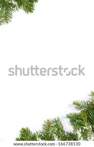 Christmas background with snow isolated on white - stock photo