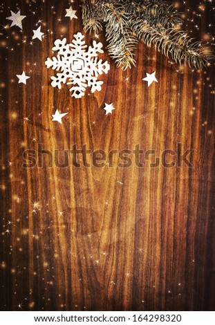 Christmas background with snowflake - stock photo