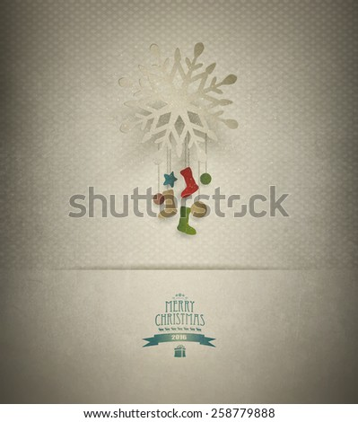 Christmas Background With Snowflake, Decorations And Title Inscription - stock photo