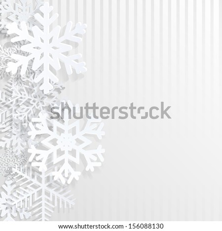 Christmas background with snowflakes and strips. Raster version. - stock photo