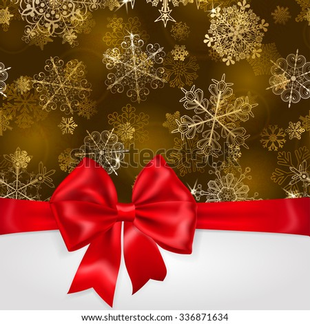 Christmas background with snowflakes in gold colors and big red bow with horizontal ribbons