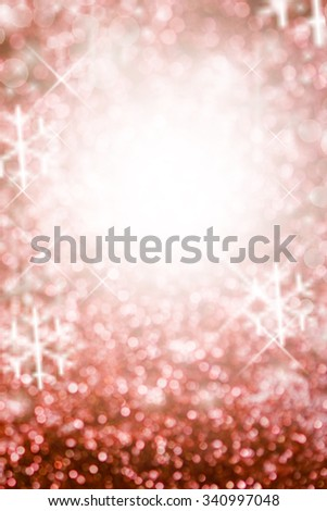 Christmas Background with snowflakes. Red Holiday glowing Abstract Glitter Defocused Background With Blinking Stars. Blurred Bokeh  - stock photo