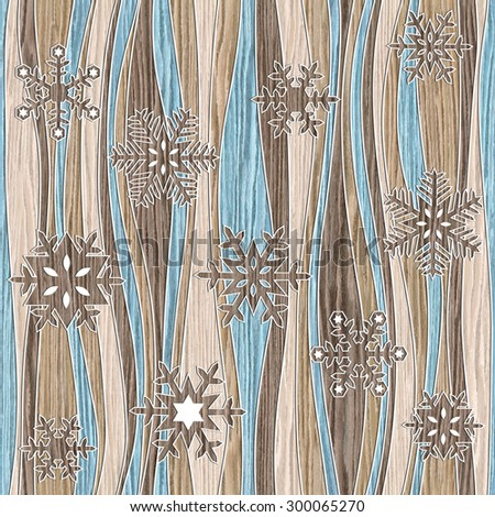 Christmas background with snowflakes - seamless background - Blasted Oak Groove wood texture - stock photo