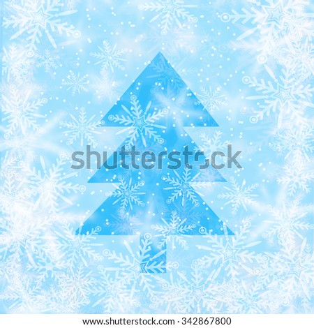 Christmas background with snowflakes with the shape of christmas tree  - stock photo