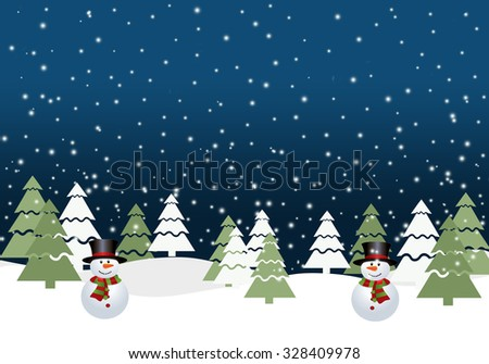 Christmas background with snowman. - stock photo