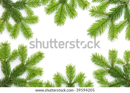 Christmas background with spruce tree frame on white