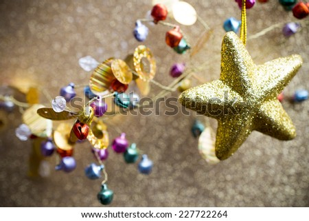 Christmas background with star. Christmas greeting card. - stock photo