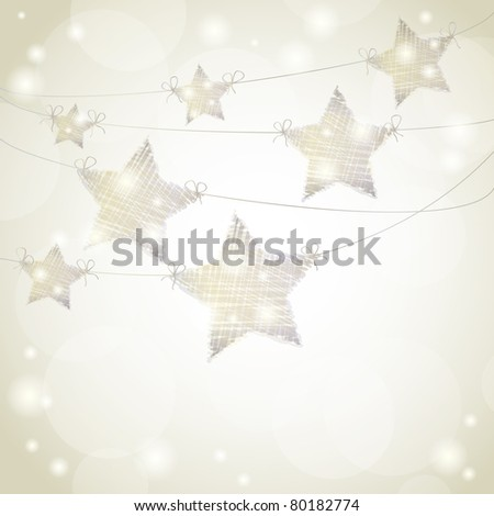 Christmas background with stars hanging from ribbons