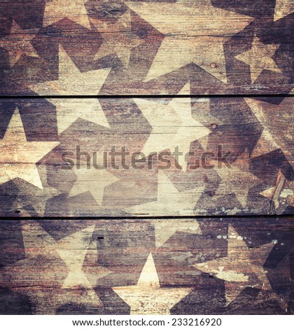 Christmas background with stars on wooden background - stock photo