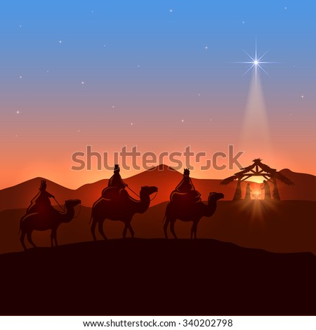 Christmas background with three wise men and shining star, Christian theme, illustration. - stock photo