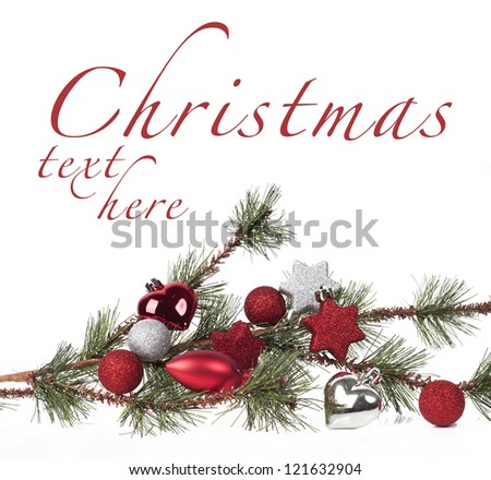 Christmas background with tree and decoration - stock photo