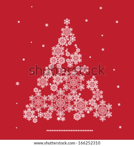 Christmas background with tree silhouette formed  snowflakes - stock photo