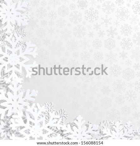 Christmas background with white snowflakes. Raster version. - stock photo