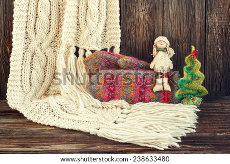 Christmas  background with  woolen accessories - stock photo