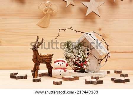 Christmas backgrounds. Christmas decor on the wooden background. - stock photo