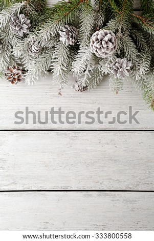 christmas backgrouns with spruce and snow, top view - stock photo