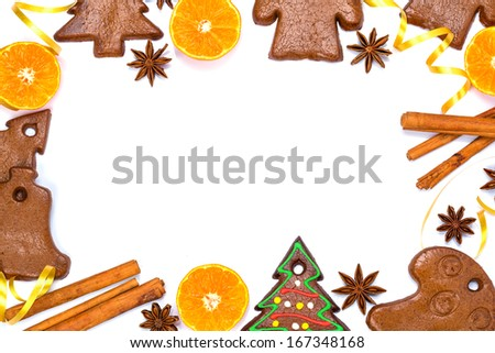 Christmas bakery frame with gingerbread and spices - stock photo