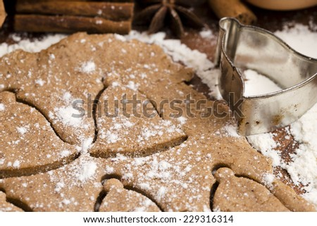 Christmas baking - gingerbreads - stock photo