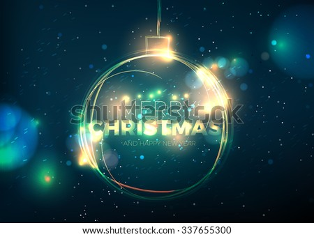 Christmas ball. Abstract sparkling circle on dark background. Illustration image. Greetig card.