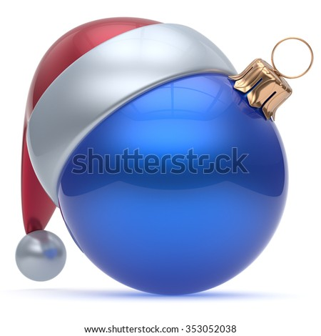 Christmas ball adornment ornament blue New Year's Eve bauble decoration blank. Happy Merry Xmas funny Santa Claus hat sphere emoticon wintertime traditional seasonal celebration souvenir. 3d render