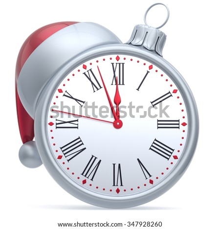 Christmas ball alarm clock New Year's Eve time Santa hat decoration bauble ornament white red. Traditional wintertime holidays midnight countdown beginning future symbol adornment. 3d render isolated - stock photo