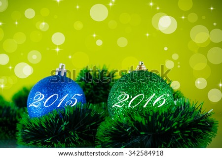 Christmas ball and decoration on abstract background - stock photo