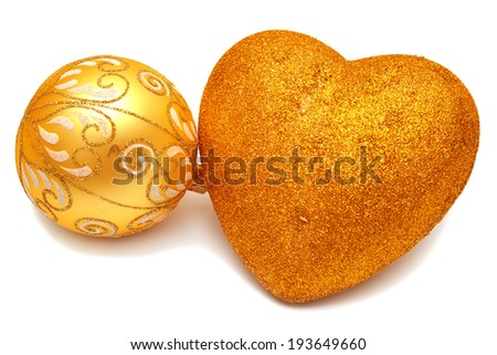 Christmas ball and heart isolated on white background - stock photo