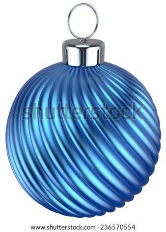 Christmas ball bauble New Years Eve decoration blue cyan wintertime ornament icon traditional. Shiny Merry Xmas winter holidays symbol modern. 3d render isolated on white background - stock photo