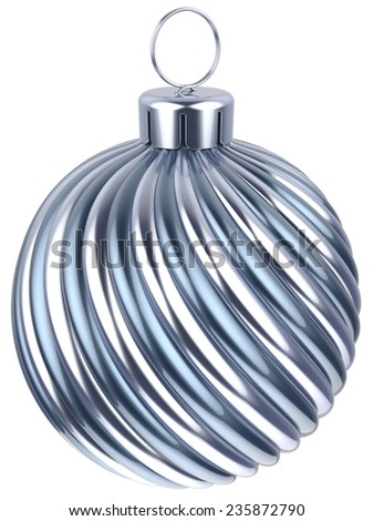 Christmas ball bauble New Years Eve decoration silver chrome wintertime ornament icon traditional. Shiny Merry Xmas winter holidays symbol metallic. 3d render isolated on white background - stock photo