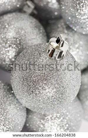 Christmas ball baubles with silver decoration - stock photo
