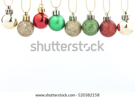 Christmas Ball Decoration. Holiday Decoration on White Background.
