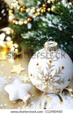 Christmas ball decoration with branch of Christmas tree - stock photo