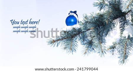 christmas ball decoration with snow and branch - stock photo