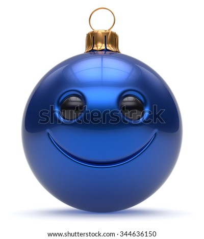 Christmas ball emoticon smiley face Happy New Year's Eve cartoon bauble cute decoration blue. Merry Xmas cheerful funny smile person character toy laughing joyful adornment souvenir concept 3d render - stock photo