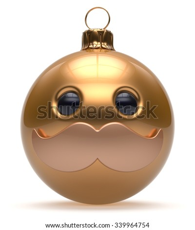 Christmas ball emoticon smiley mustache face New Year's Eve cartoon bauble cute decoration gold. Happy Merry Xmas cheerful funny person character laughing joyful adornment souvenir concept. 3d render - stock photo