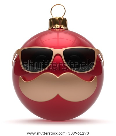 Christmas ball emoticon smiley mustache face New Year's Eve cartoon bauble cute decoration red. Happy Merry Xmas funny glasses person character laughing joyful adornment souvenir concept. 3d render - stock photo