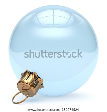 Christmas ball glass empty adornment New Year's Eve ornament translucent bauble clear blank decoration shiny polished. Happy Merry Xmas traditional wintertime celebration symbol. 3d render isolated - stock photo