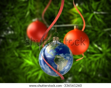 Christmas ball Globe on Christmas tree. Elements of this image furnished by NASA - stock photo