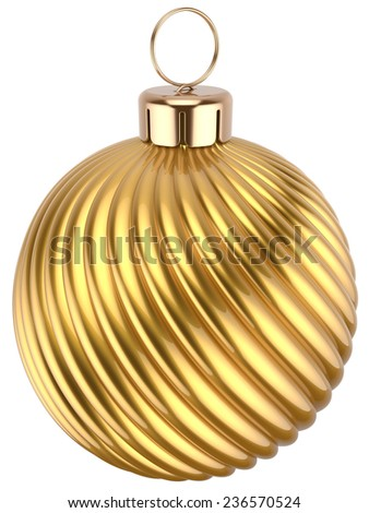Christmas ball gold decoration golden glossy. Happy New Year bauble traditional luxury. Merry Xmas greeting card design element. 3d render isolated on white background - stock photo