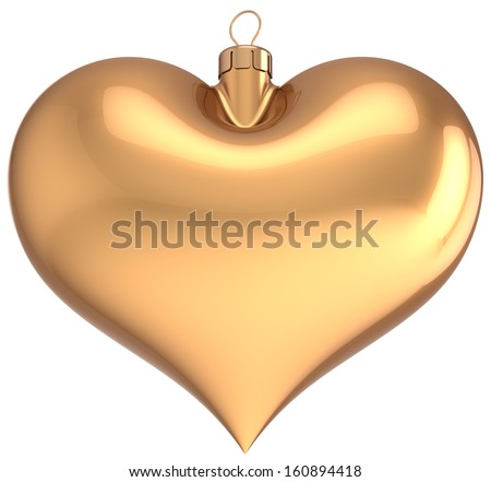 Christmas ball gold heart shaped decoration I love New Years Eve bauble golden blank. Merry Xmas greeting card souvenir. Traditional winter holidays icon. 3d render isolated on white background - stock photo