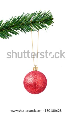 Christmas Ball Hanging Isolated on White  - stock photo