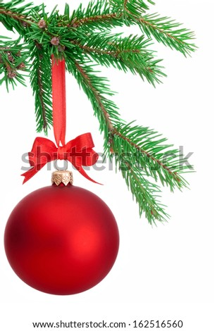 Christmas ball hanging on a fir tree branch Isolated on white background - stock photo