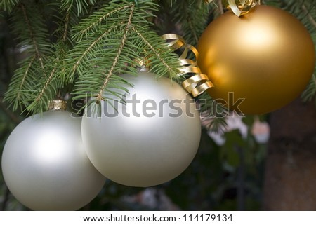 Christmas ball hanging on fir branch  - outdoor - stock photo