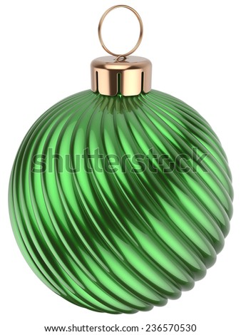 Christmas ball Happy New Years Eve bauble green decoration wintertime ornament icon traditional. Shiny Merry Xmas winter holidays symbol modern. 3d render isolated on white background - stock photo