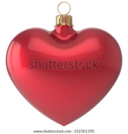 Christmas ball heart New Year's Eve bauble love decoration red blank adornment. Merry Xmas traditional wintertime holidays ornament romantic. 3d render isolated on white background - stock photo