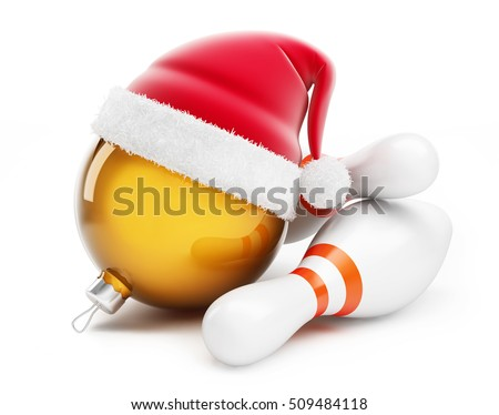 Christmas ball in santa hat Bowling santa hat on a white background 3d Illustrations