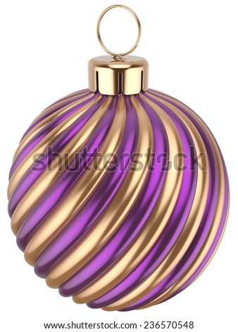 Christmas ball New Year bauble decoration purple gold sphere icon. Beautiful shiny Merry Xmas winter symbol classic traditional. 3d render isolated on white background - stock photo