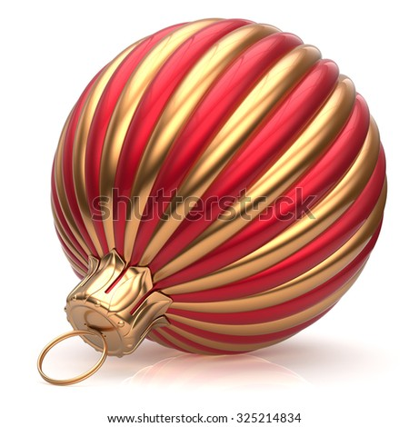 Christmas ball New Year's Eve bauble decoration red golden wintertime hanging adornment classic. Traditional ornament happy winter holidays Merry Xmas event symbol glossy blank. 3d render isolated - stock photo